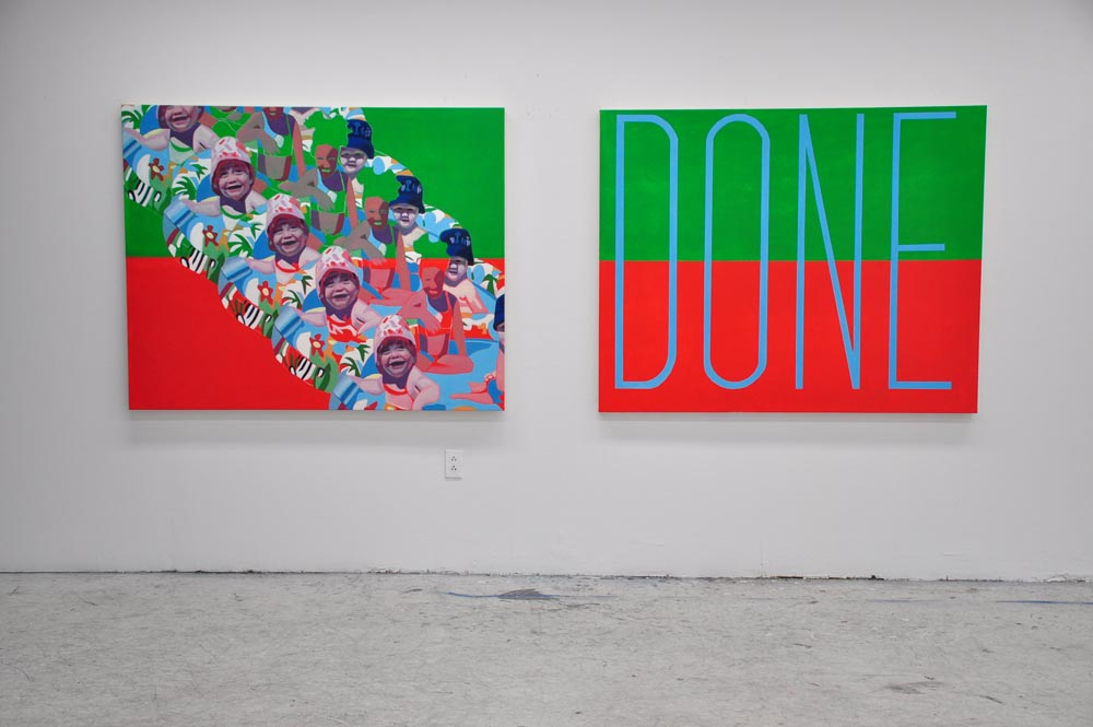"2014. OIL AND ACRYLIC ON CANEVAS, DIPTYCH OF 48"" X 60"" EACH CANVAS (122 X 152CM)"
